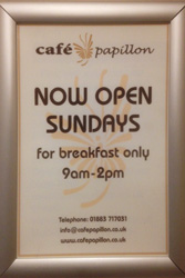 Now Open Sunday for Breakfasts