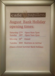 Bank Holiday Monday Opening Times - August 29th 2016