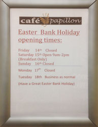 Easter Holiday Opening Times