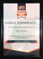 Love Oxted awards Cafe Papillon - Highly Commended